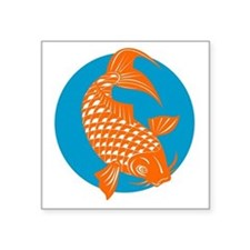"koi carp fish Square Sticker 3"" x 3"""