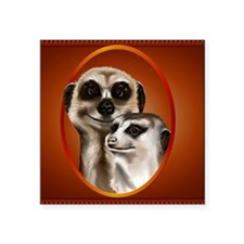 "Meerkat Couple_pillow Square Sticker 3"" x 3"""