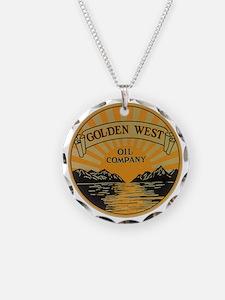 Vintage Golden West Product  Necklace Circle Charm