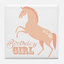 Birthday Girl Pony Tile Coaster
