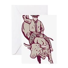 Rodeo cowboy bull riding Greeting Card