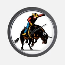Rodeo cowboy bull riding Wall Clock