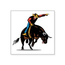 "Rodeo cowboy bull riding Square Sticker 3"" x 3"""