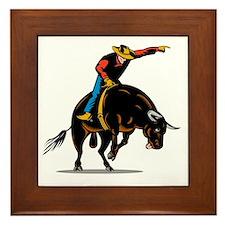 Rodeo cowboy bull riding Framed Tile