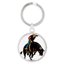 Rodeo cowboy bull riding Round Keychain