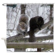 Squirrels Chatting Shower Curtain