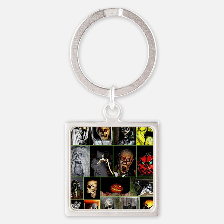 Faces of Halloween Square Keychain
