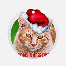 MeowyChristmasCircleWords Round Ornament