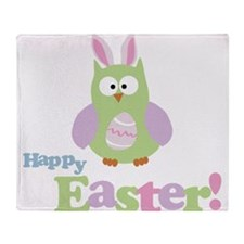 Happy Easter Owl Throw Blanket