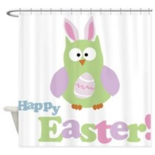 Happy Easter Owl Shower Curtain