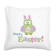 Happy Easter Owl Square Canvas Pillow