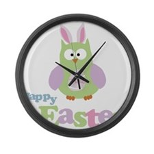 Happy Easter Owl Large Wall Clock