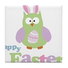 Happy Easter Owl Tile Coaster