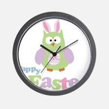 Happy Easter Owl Wall Clock
