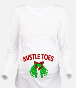 Mistle Toes Christmas Long Sleeve Maternity T-Shir