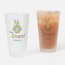 Personalized Happy Easter Owl Drinking Glass