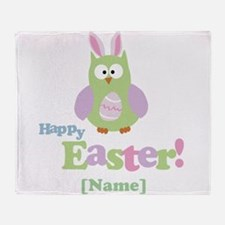 Personalized Happy Easter Owl Throw Blanket
