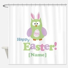 Personalized Happy Easter Owl Shower Curtain