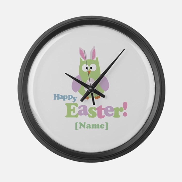 Personalized Happy Easter Owl Large Wall Clock