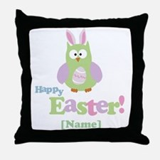 Personalized Happy Easter Owl Throw Pillow