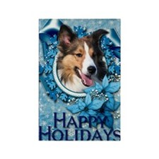 Blue_Snowflake_Sheltie Rectangle Magnet