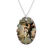 Angel and Child Necklace Oval Charm