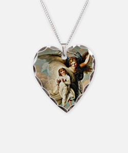 Angel and Child Necklace Heart Charm