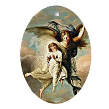 Angel and Child Oval Ornament