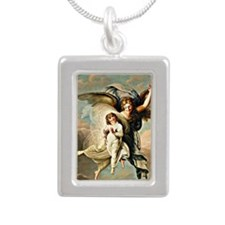 Angel and Child Silver Portrait Necklace