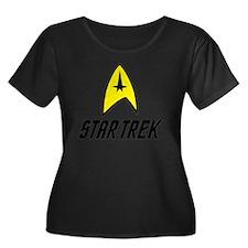 Star Tre Women's Plus Size Dark Scoop Neck T-Shirt