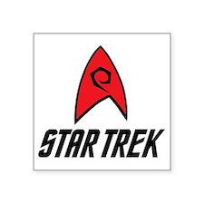 "Star Trek Insignia Red- Bla Square Sticker 3"" x 3"""