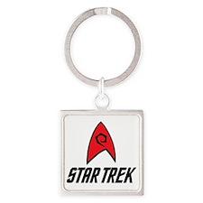 Star Trek Insignia Red- Black Square Keychain