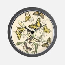 Unique Yellow butterfly Wall Clock