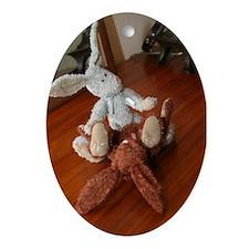 bad bunnies Oval Ornament