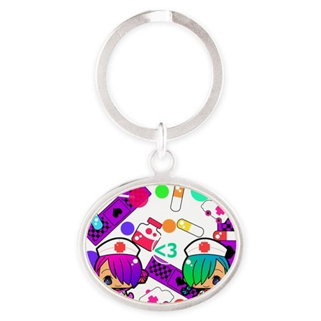 St Cute Hospital Front Oval Keychain