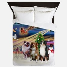Xmas Magic - Aussie Shepherds (three) Queen Duvet
