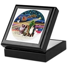 Xmas Magic - Aussie Shepherds (three) Keepsake Box