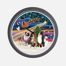 Xmas Magic - Aussie Shepherds (three) Wall Clock