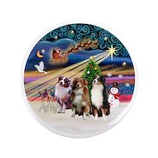 """Xmas Magic - Aussie Shepherds (three) 3.5"""" Button"""