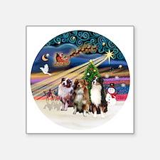"Xmas Magic - Aussie Shepher Square Sticker 3"" x 3"""