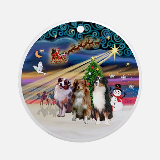 Xmas Magic - Aussie Shepherds (thre Round Ornament
