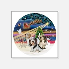 "Xmas Magic - Petit Bassets  Square Sticker 3"" x 3"""
