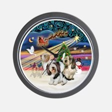 Xmas Magic - Petit Bassets (THREE) Wall Clock