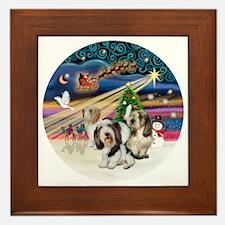 Xmas Magic - Petit Bassets (THREE) Framed Tile