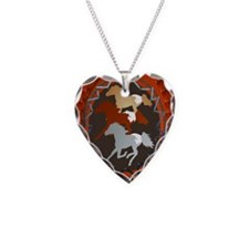 Horse and Shield-oval ornamen Necklace Heart Charm