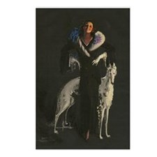 Deco Lady And Dog_edited- Postcards (Package of 8)