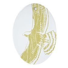 WoodcutHawk11x17rev Oval Ornament