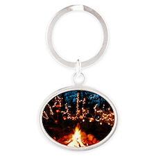 Halloween Campfire Oval Keychain