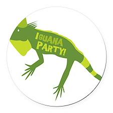 Iguana Party Round Car Magnet