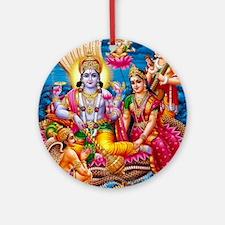 LORD VISHNU-LAKSHMI-GARUDA NARAD Ornament (Round)